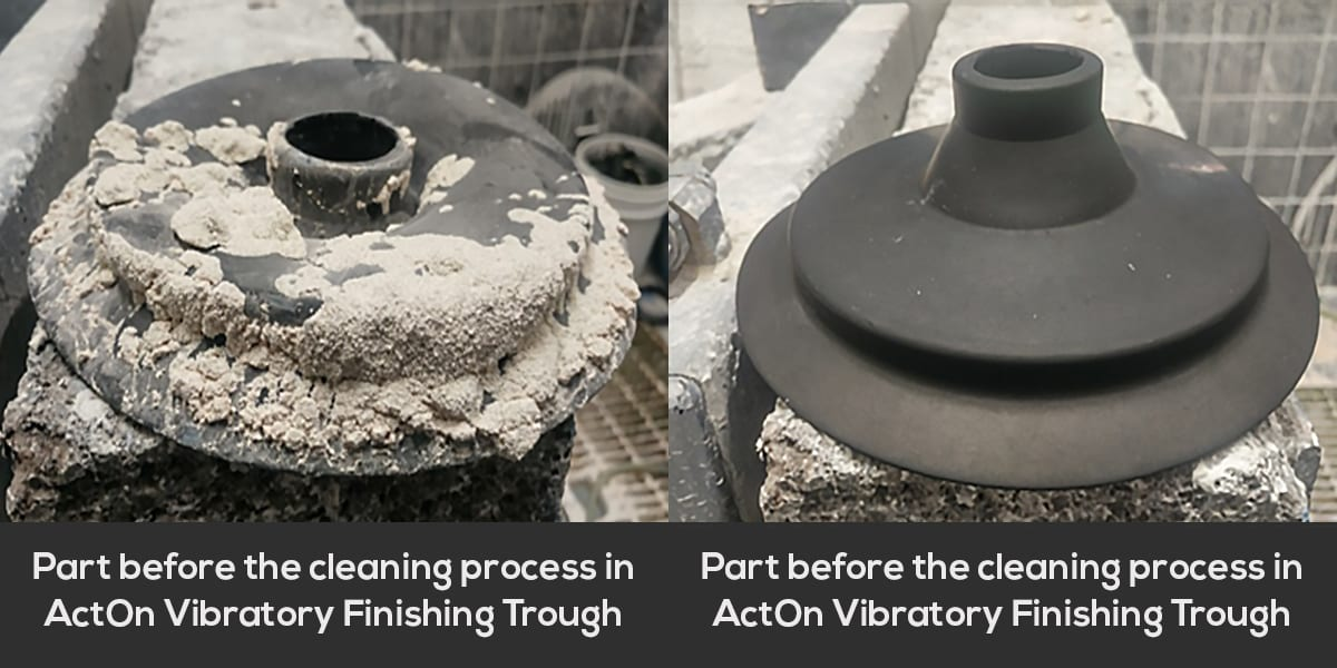 Rolls Royce part before and after the cleaning process in the ActOn Vibratory Finishing machine