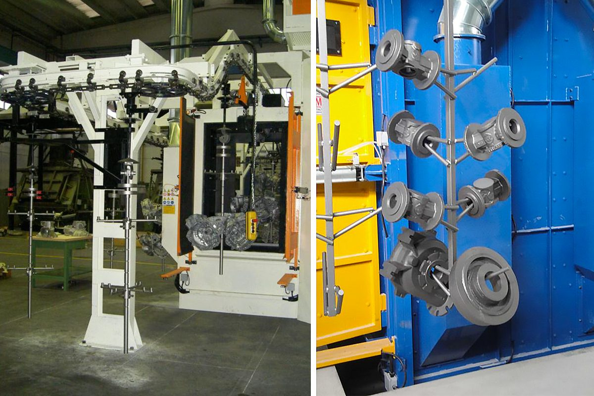 GSA Continuous Feed Overhead Rail Shot Blasting machine from ActOn Finishing for a constant productivity.
